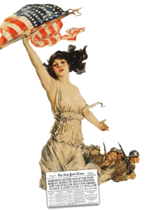 Vintage illustration of a woman holding a flag in front of Army, with a New York Times announcing The Armistice.