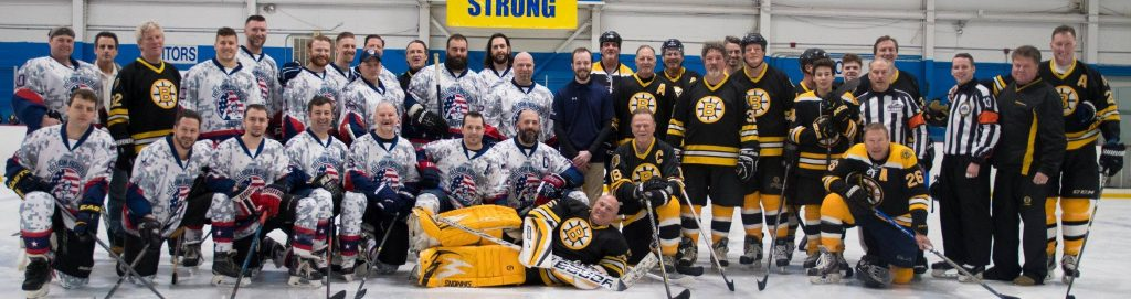 Freedom Fighters Hockey team and Boston Bruins Alumni team at their charity event.